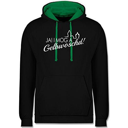 Städte - Ja! I mog a Gelbwoschd Franken Hommage - Kontrast Hoodie Schwarz/Grün