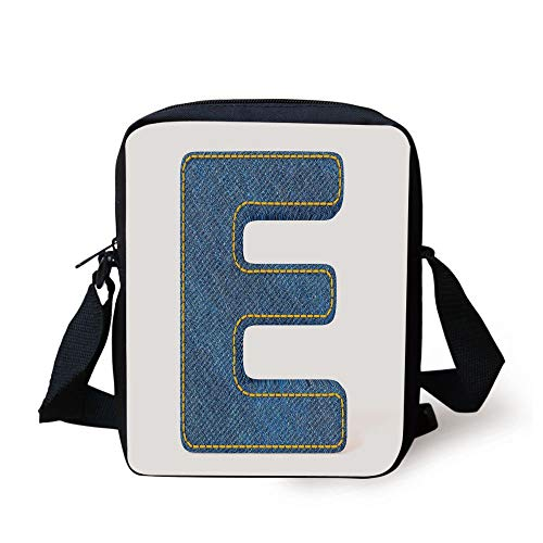 Blue Jeans Themed Symbol E from Alphabet ABC of Fabric Uppercase Letter,Blue Yellow Print Kids Crossbody Messenger Bag Purse ()