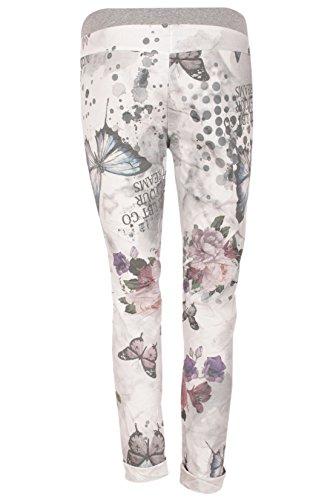 Catch Fashion Damen Baggy Hose Freizeithose Boyfriend Style Baumwolle Sweat Pants Tunnelzug Blumenprint Design Grau-Bunt