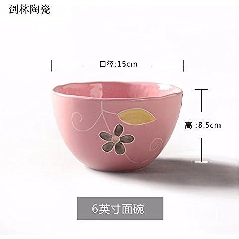 Il riso ciotole di riso bocce di piccole , in ceramica per usi domestici ciotola per mangiare il riso bocce , , Singola ,15*8,5 cm rosa