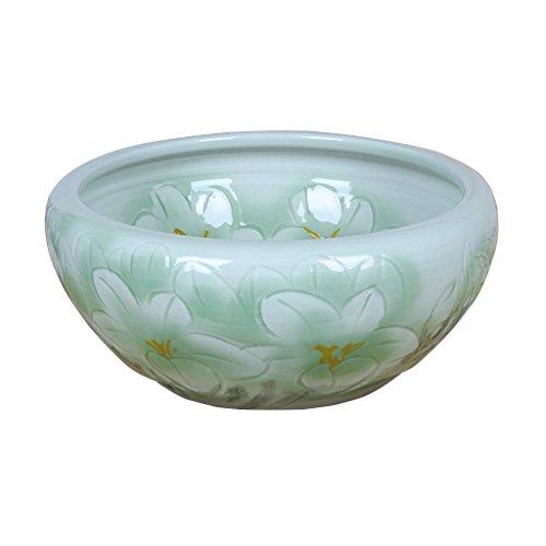 BOBE SHOP Chinois Intérieur En Céramique Pots De Fleurs sans Trous Plantes Hydroponiques Pots Fish Tank Décoration de La Maison 26 * 26 * 12 CM