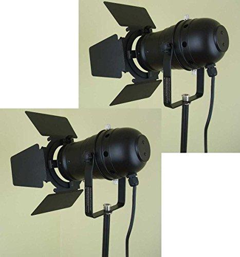 2 x PAR 30 Spot-Light Scheinwerfer SCHWARZ black PAR-30 mit Torblende, E-27 Fassung & Kabel mit Schuko-Stecker