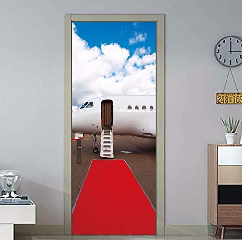 Roter Teppich Reise Flugzeug Pvc Wasserdicht Selbstklebende Tür Aufkleber 3D Tür Aufkleber Für Schlafzimmer Wohnzimmer Home Design 77X200 Cm -