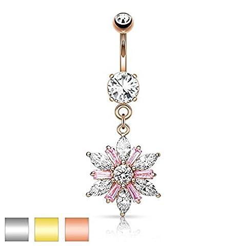 1 x Rose Gold Plated Clear & Pink Marquise Couper la pépite de cristal Flower Dangle Belly Bar Piercing Épaisseur: 1,6 mm Longueur: 10mm Matériel: acier chirurgical