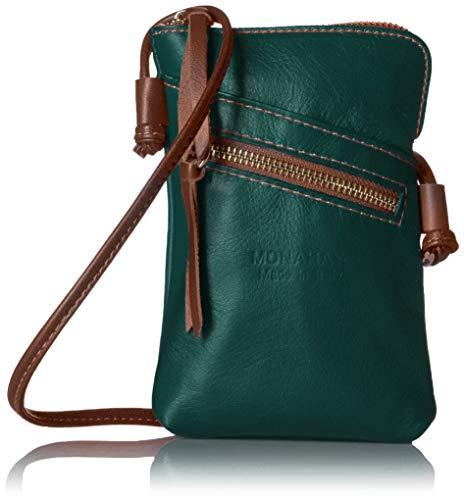 italienische Leder Handy Schultertasche,Handytasche, reisePass Umhängetasche, Kleine Umhängetasche für Damen Mini Sack Mädchen Frauen (Dunkles Cyan/Braun) -
