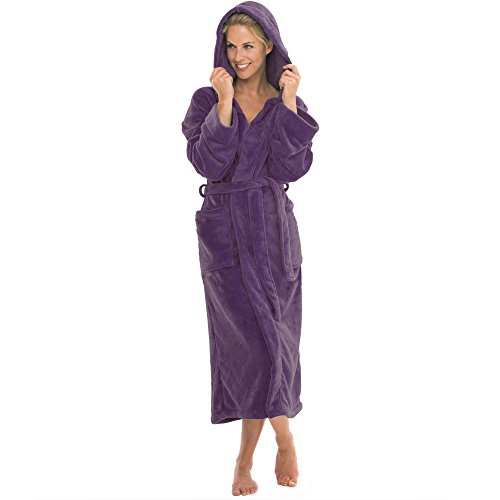 aqua-textil Bademantel mit Kapuze Damen Herren Morgenmantel weich und super flauschig, Coral Fleece Saunamantel lang, 1000434 Malibu L lila