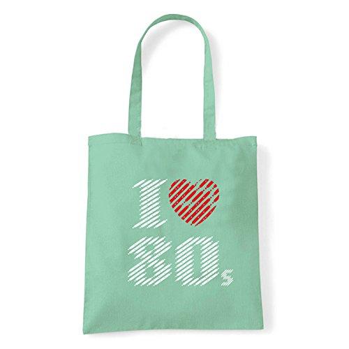 Art T-shirt, Borsa Shoulder I love 80, Shopper, Mare Menta