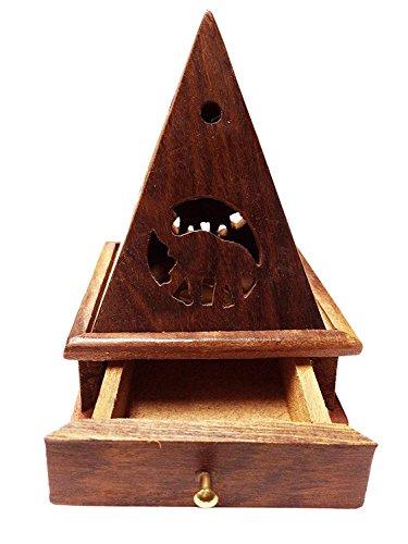 WhopperOnline handgeschnitzten Classic Holz Classic Räuchergefäß für Räucherkegel Anthrazit Räucherstäbchenhalter mit Tempel Form Design 12,7cm