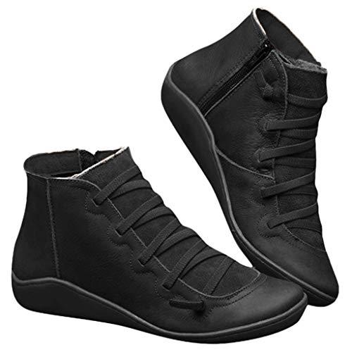 POLP Botas,Mujer Botines de Cuero Otoño Invierno Vintage Botines Mujer con Cordones Zapatos de Mujer...