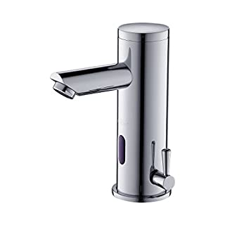 Auralum Automatic Infrared Sensor Hot and Cold Water Mixer Tap for Washbasin, Chrome Finish, 6.00V