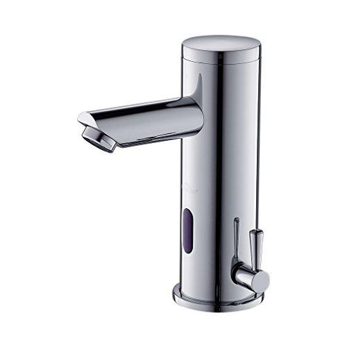 Auralum Mitigeur Lavabo Automatique à Infrarouge Robinet de Détection IR Monotrou Mousseur Eau Froide et Chaude Laiton Chrome pour Salle de bain