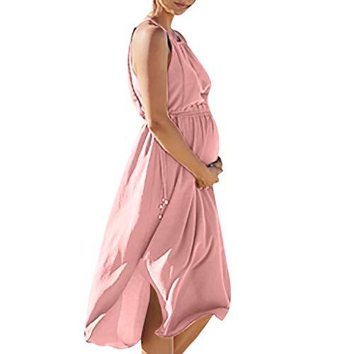 Schwangere Kleider Damen, Damen Umstandskleider Damenkleid Sommer Trägerlos Stillen Stillen Lässig Sexy Ärmellos Midi Kleid Umstandskleid Schwangerschaftskleid -
