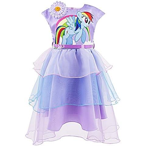 Katara 1717–Pegatina My Little Pony Verano Vestido con flor y arco iris colores como regalo o Fijo vestido, color