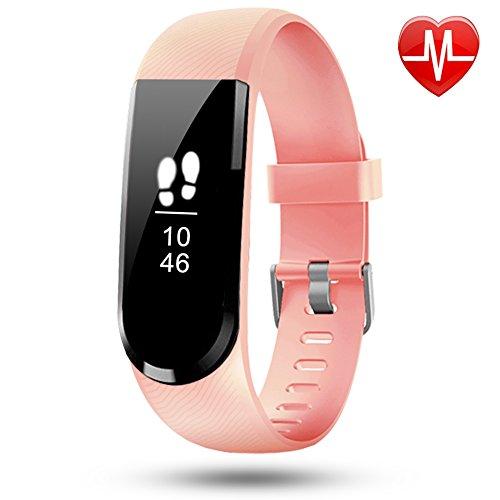 Fitness Armband Lintelek fitness tacker HR Bracelet Smartwatch Schrittzähler Herzfrequenzmessung Pulsmesser Wasserdicht Smart Uhr Armbanduhr Aktivitätstracker Schlaftracker (Diagramm Zahlen Medizinische)