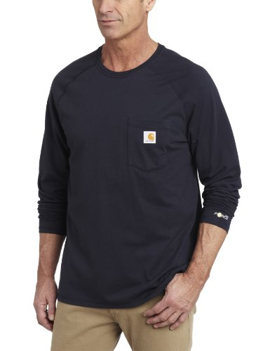 Carhartt Herren Big & Tall Force Baumwolle Langarm T-Shirt, Small, navy, 1 - Big-tall-hemden