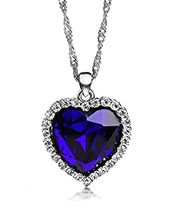 Ananth Jewels Swarovski Elements Crystal Titanic Ocean Love Heart shaped Valentine Gift Pendant Necklace For Women