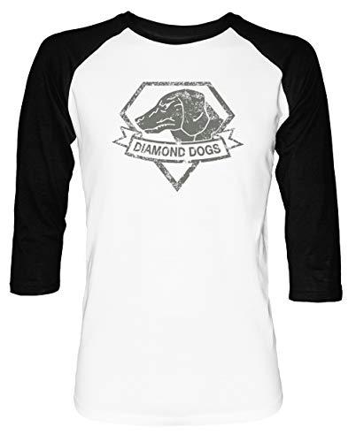Diamond Herren Damen Unisex Baseball T-Shirt Weiß Schwarz 2/3 Ärmel Women's Men's Unisex Größe XXL Men's White T-Shirt XX-Large Size XXL - Baseball-spiele, 360 Xbox
