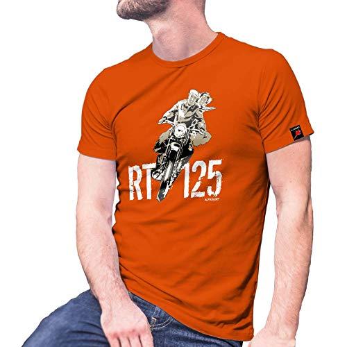 RT Forum 125 Motorrad Reichstyp Oldtimer Biker Internet Seite T Shirt #30030, Größe:S, Farbe:Orange