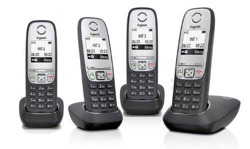 Gigaset A415 / A 415 Quattro schwarz OHNE Anrufbeantworter inkl. 4 Mobilteilen