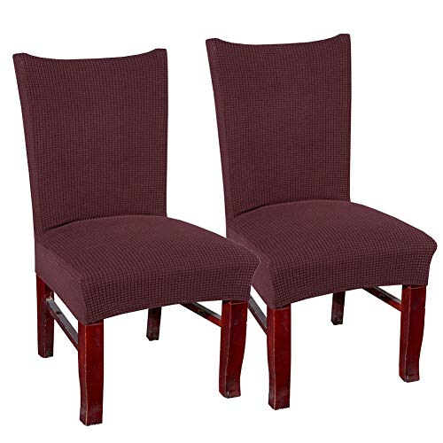 blue page Coffee Soft Spandex Fit Stretch Short Dining Room Chair Covers, Banquet Chair Seat Protector Slipcover for Home Party Hotel Wedding Ceremony 2Pieces