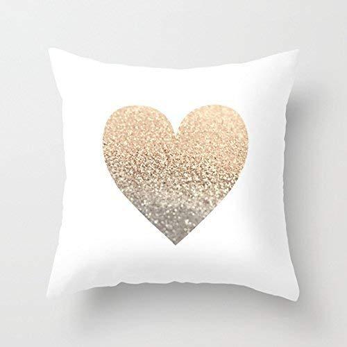 Meimei2stampa modello oro cuore casa cuscino decorativo coperchio quadrato 45,7x 45,7cm in tela di cotone wedding throw pillow case (non vera cuore d' oro, stampa motivo copertura del cuscino)