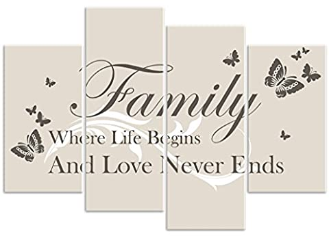 Butterfly - 'Family Where Life Begins' - Neutral - 4 Panel - Love Quote Words Canvas Wall Art Print Picture - Overall Size 104cm x 69cm - Framed and Ready to Hang - Please Choose Your Colour from the Selection Boxes - by Rubybloom Designs