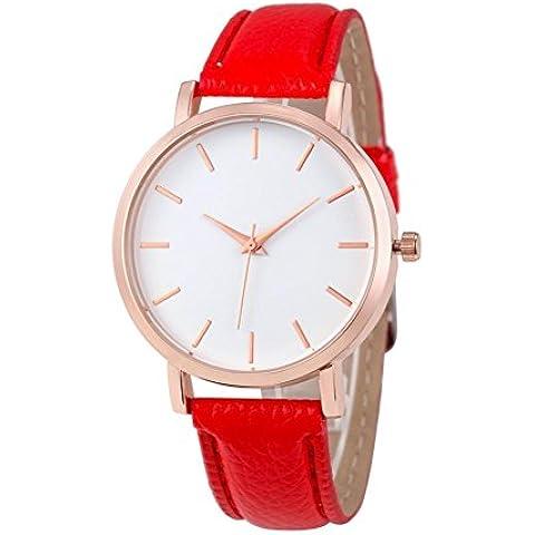 Tongshi Los relojes de manera de cuero de las mujeres de acero inoxidable de los hombres de cuarzo analógico reloj de pulsera (rojo)