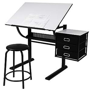 Schreibtisch mit Zeichenfunktion Zeichentisch Bürotisch Atelier Kunsttisch Arbeitstisch belastbar inkl. 3 große Schubladen und Hocker bis ca. 60 kg