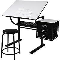 MIADOMODO Schreibtisch mit Zeichenfunktion Zeichentisch Bürotisch Atelier Kunsttisch Arbeitstisch belastbar inkl. 3 große Schubladen und Hocker bis ca. 60 kg
