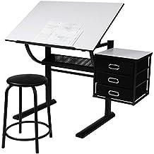 Miadomodo - Mesa de dibujo con taburete para arquitectos y técnicos - tablero reclinable, 3 cajones, espacio adicional para guardar cosas - color negro-blanco