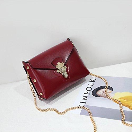 Kettenhandtaschen Einfaches Retro-Freizeitpaket Schulter Schiefes Querpaket Kleine Quadratische Tasche Rotwein