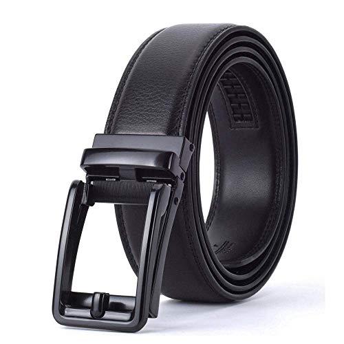 Mens 3.5cm Luxury Designer Fashion Leather Strap Automatic Buckle Black Belts -