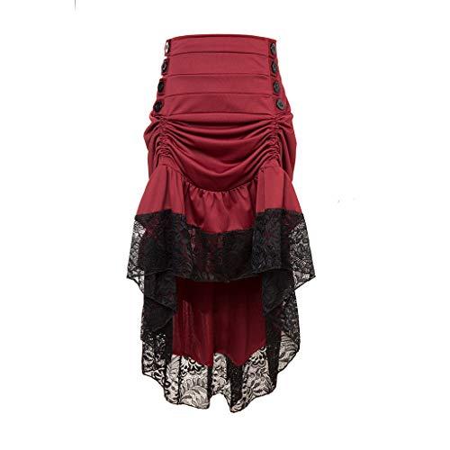 Huacat Damen Gothic Wind Rock Steampunk Court Rock Lace Panel Maxi-Kleid gekräuselten Kuchen Rock Styles Low High Gothic Button Rock