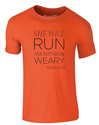 Brand88 - She Will Run, Erwachsene Gedrucktes T-Shirt Orange/Schwarz