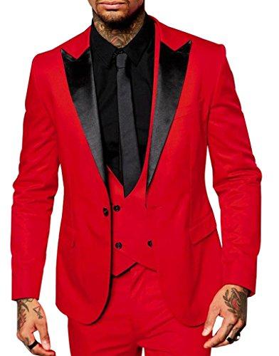 Judi Dench@ Herren Anzug Tuxedos Mode Hochzeit Prom Party Performance Club 3 Stueck Anzug, Groesse 4XL, Rot (Männer Prom Tuxedo)