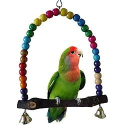 yosso color 14cmx14.3cm juguete para pájaros en madera, columpio loro conexión de las campanas, Elégante Swing balancín colgante de periquito
