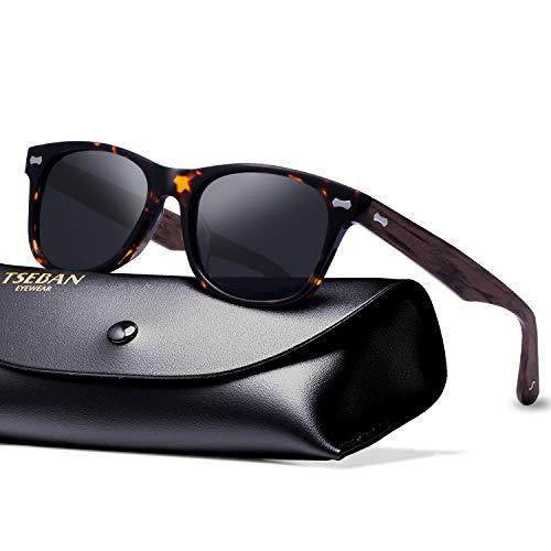 TSEBAN Retro Polarisierte Damen Sonnenbrille Herren Sonnenbrille 100% UV400 Schutz Fahrer Brille Acetat Rahmen (Damen, Damen & Rahmen: Holz-2; Linsen: Schwarz)
