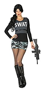 Atosa-17519 Disfraz Mujer policía swat, Color Negro, XS-S (17519)