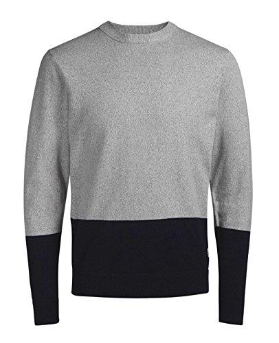 JACK & JONES Herren Strickpullover jorLEE Knit leichter Pullover Knit Fit Grau (Cloud Dancer Fit:KNIT)
