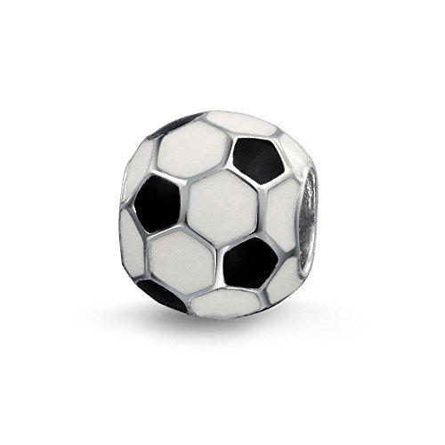 Schwarz Weiß Ball Mama Fußball Spieler Sport Athletische Charm Perle Für Damen Silber Passen Europäischen Armband (Pandora Perlen Oma)