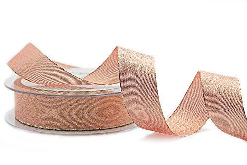 Dekoband Vienna ROSA Gold 20 m x 25 mm (0,93€/m) Lurex Geschenkband mit Metallgarn Stoffband Metallic Tischdeko Hochzeit Schleifenband Kartengestaltung Basteln (Und Gold Stoff Rosa)