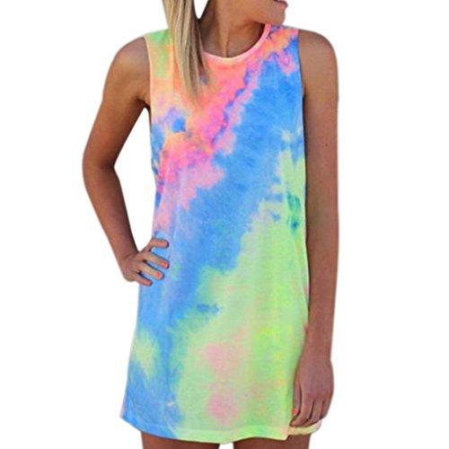 Bekleidung Longra Damen Sommerkleider Random Farbe Print Rundhals Mini Kleid Casual T-shirt-Kleid (XL, Multicolor) (1950er-jahre-t-shirts)