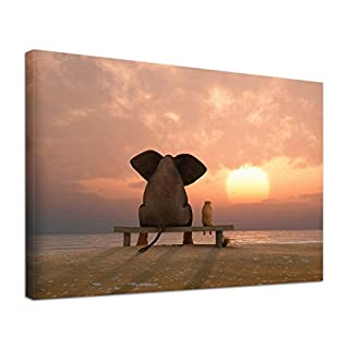 Leinwandbild Bild Tiere Elefant Hund Freundschaft (60 x 40 cm)