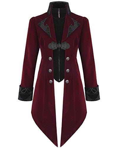 Devil Fashion Jackett, Herren, Samt, Steampunk, Aristokratenlook, roter Samt Gr. M, burgunderrot (Fashion Goth)
