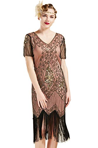 ArtiDeco 1920s Kleid Damen Flapper Kleid mit Kurzem Ärmel Gatsby Motto Party Damen Kostüm Kleid (Koralle Gold, S (Fits 76-82 cm Waist))