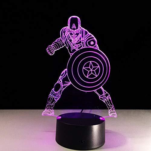 DDBBhome Captain America 7 Farbwechsel Licht 3D Illusion Bulbing Lampe Halloween Weihnachten Kinder Geschenk Nachttischlampe