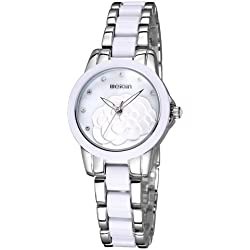 WEIQIN 2733 Hollow Hands Solid Flower Rhinestone Scale Shell Dial Fashion Damen Weiblich Quarz Uhr mit Alloy & Ceramic Band (Silver + White)
