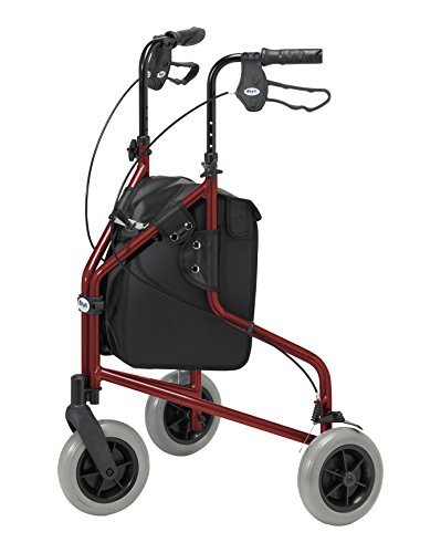 3 Lightweight Folding Walker And BagAdjustable Brakes Days AidRuby Lockable Aluminium Mobility Red With Wheel HeightLimited Tri Carry LqpGzSVUjM