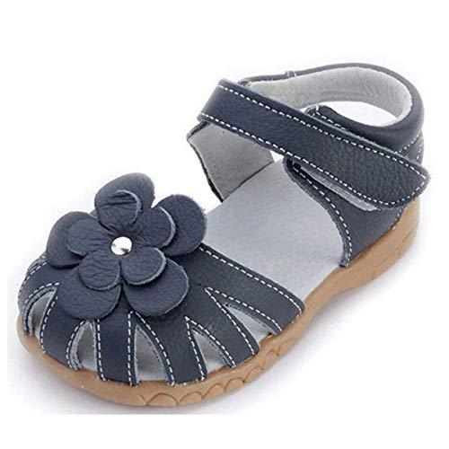 Mädchen Geschlossene Leder Sandalen Baby Lauflernschuhe mit Klettverschluss Sommer Kinderschuhe,Blau,EU25=CN26 (Kleinkind Schuhe Mädchen)