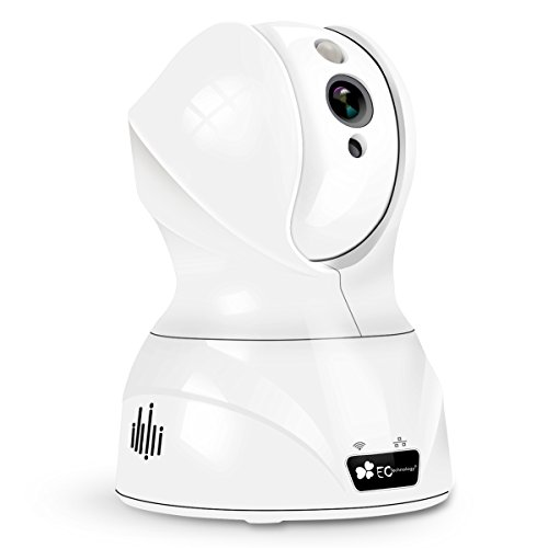 720P HD Wireless Wlan/Wifi IP Kamera von EC Technology Schwenkbare Indoor Baby Monitor Heim Home Security Überwachungskamera mit Bewegungserkennung, Stereo 2 Wege Audio zum Gegensprechen, PIR Nachtsichtmodus, Alarm Informationen für MacBook und Windows PC, iOS/Android - in weiß